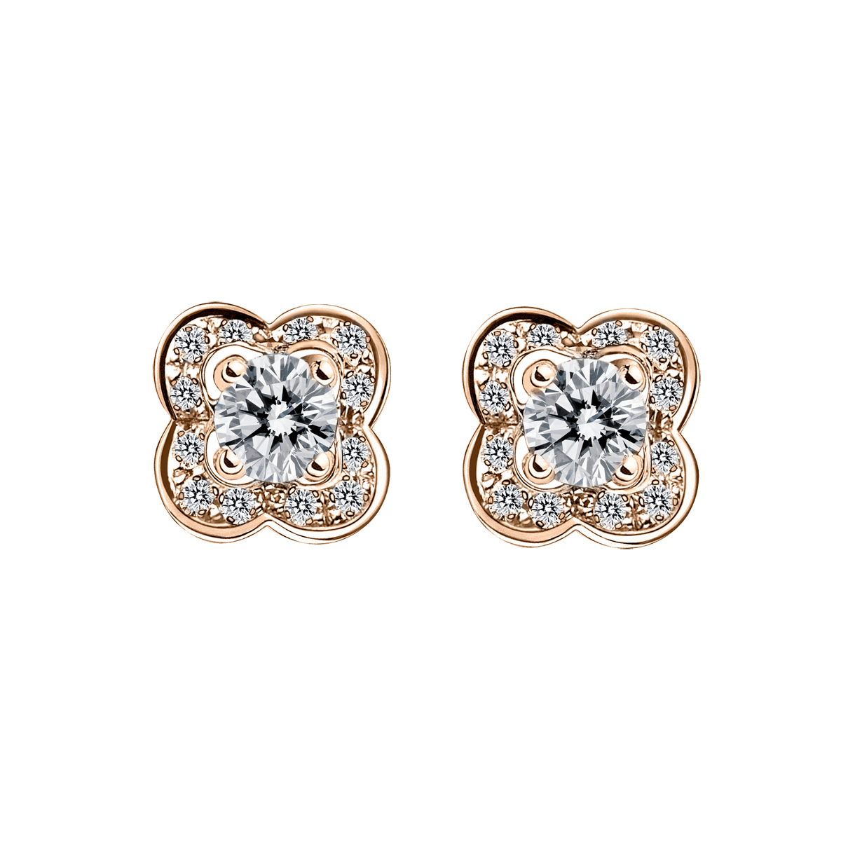Chance of Love earrings, pink gold and diamonds