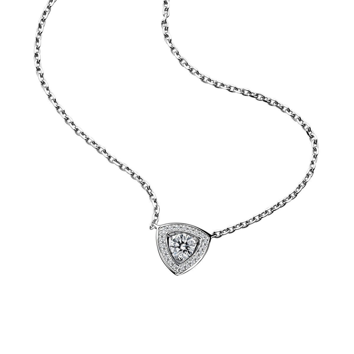 Dream & Love Pendant , white gold, central diamond 0,30 carat approximatively, diamonds pavement