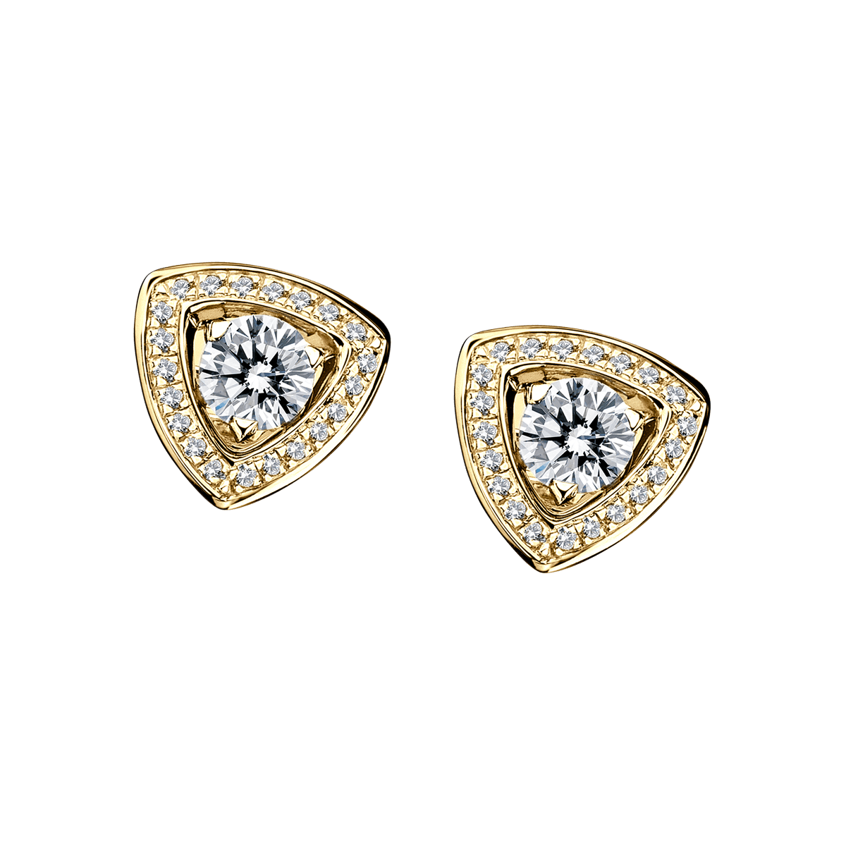 Dream & love Earrings,yellow gold, 2*0,30 carat approximatively, diamond pavement