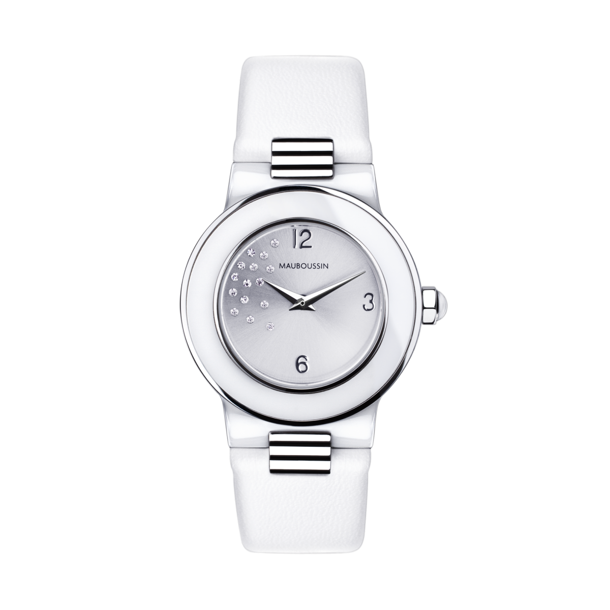 Amour le Jour watch, diamonds and leather strap
