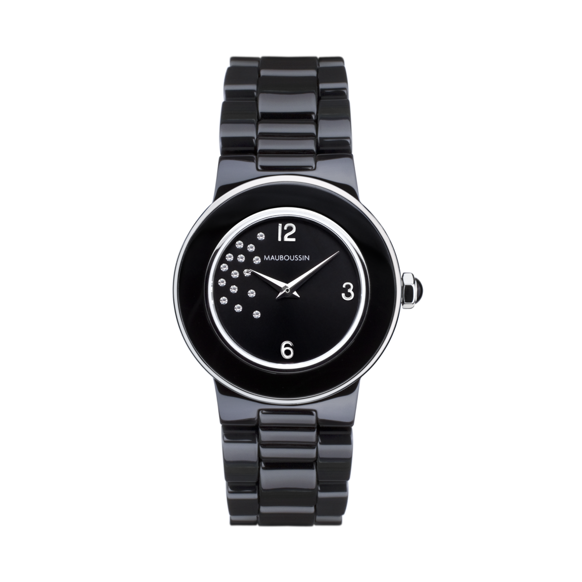 Amour la Nuit watch, black ceramic and diamonds
