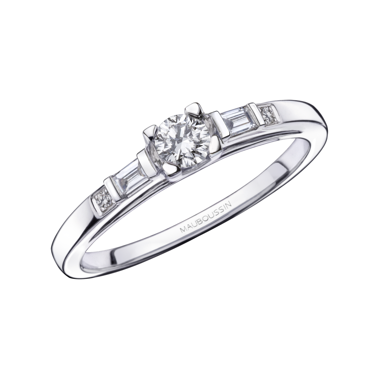 Courtisane N°2 engagement ring, white gold and diamond