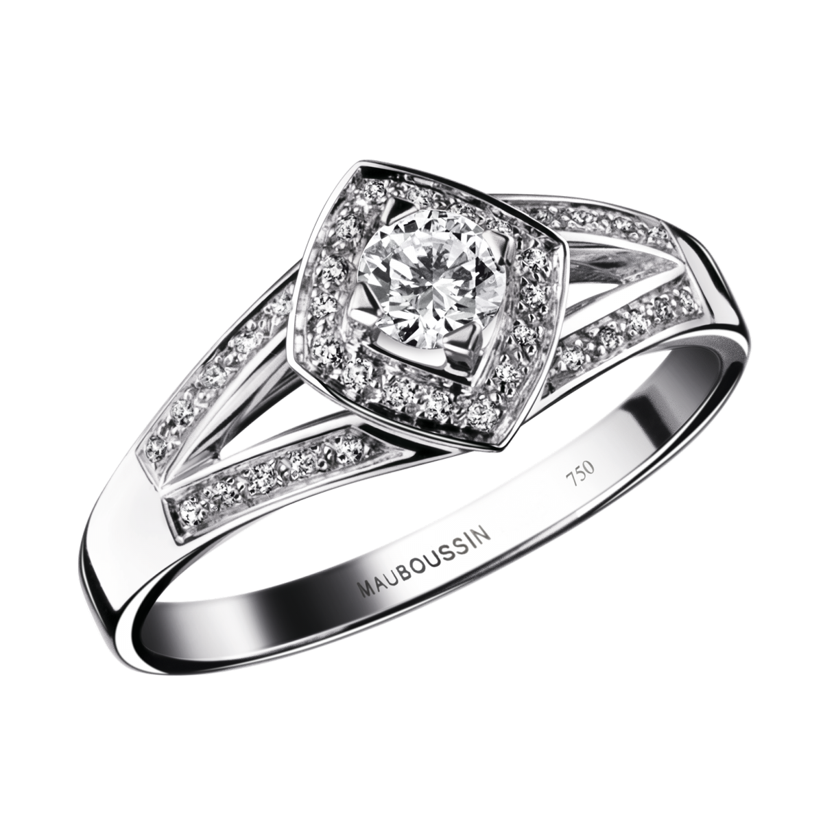 Love my Love N°2 engagement ring, white gold and diamonds