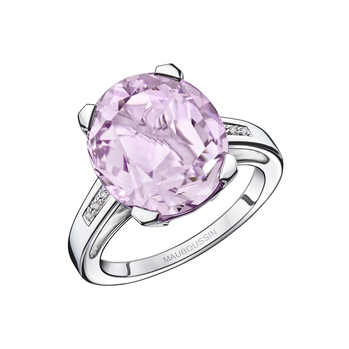Ring Bébé d'Amour, white gold, amethyst and diamonds