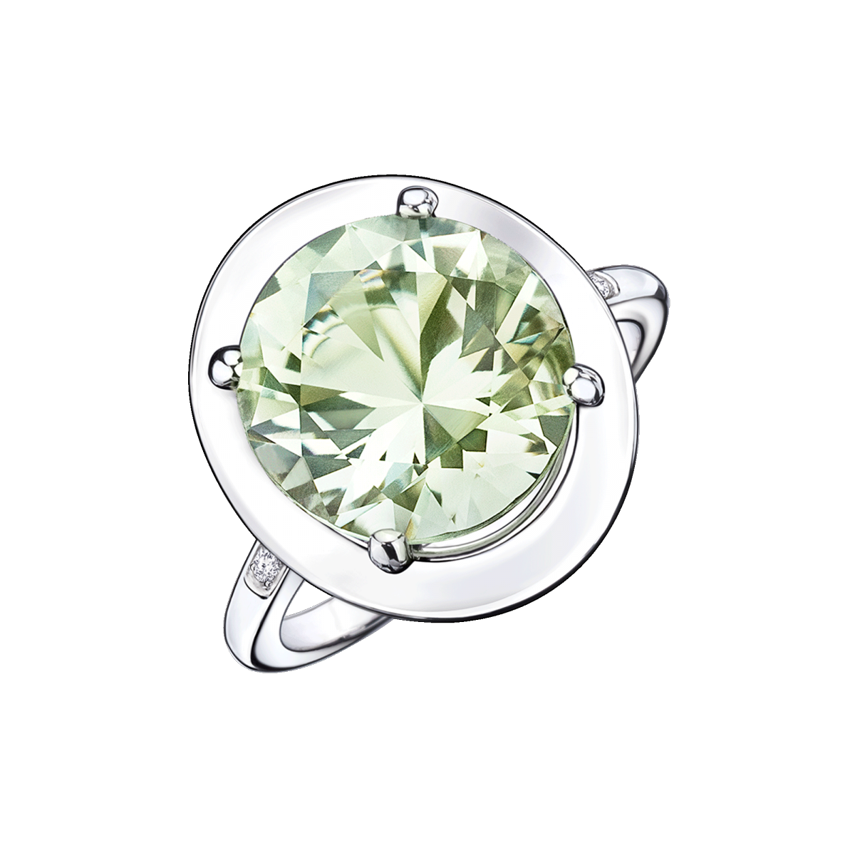 Ring Vraiment Jolie Mon Amour, white gold, green amethyst and diamonds