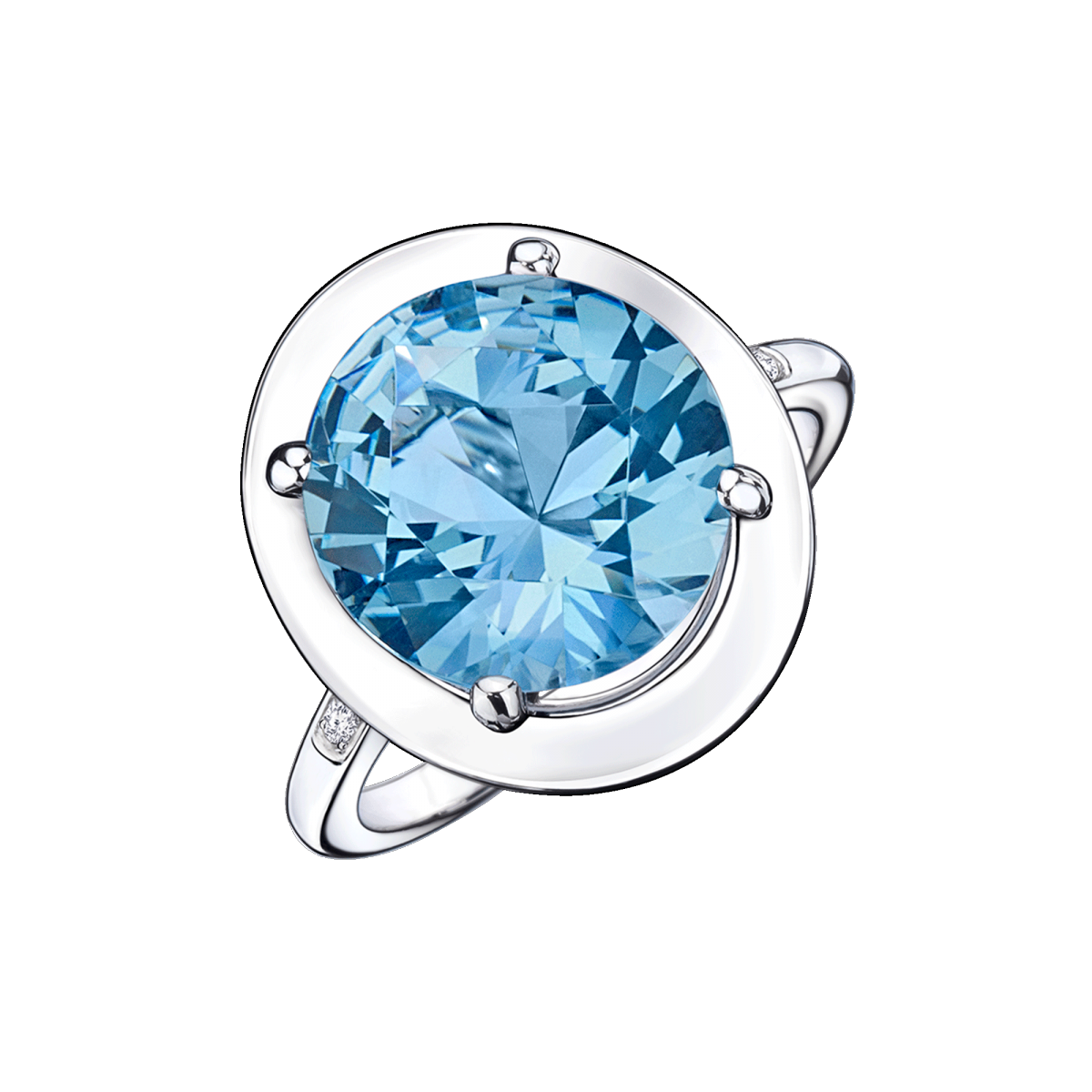 Ring Vraiment Jolie Mon Amour, white gold, blue topaz and diamonds