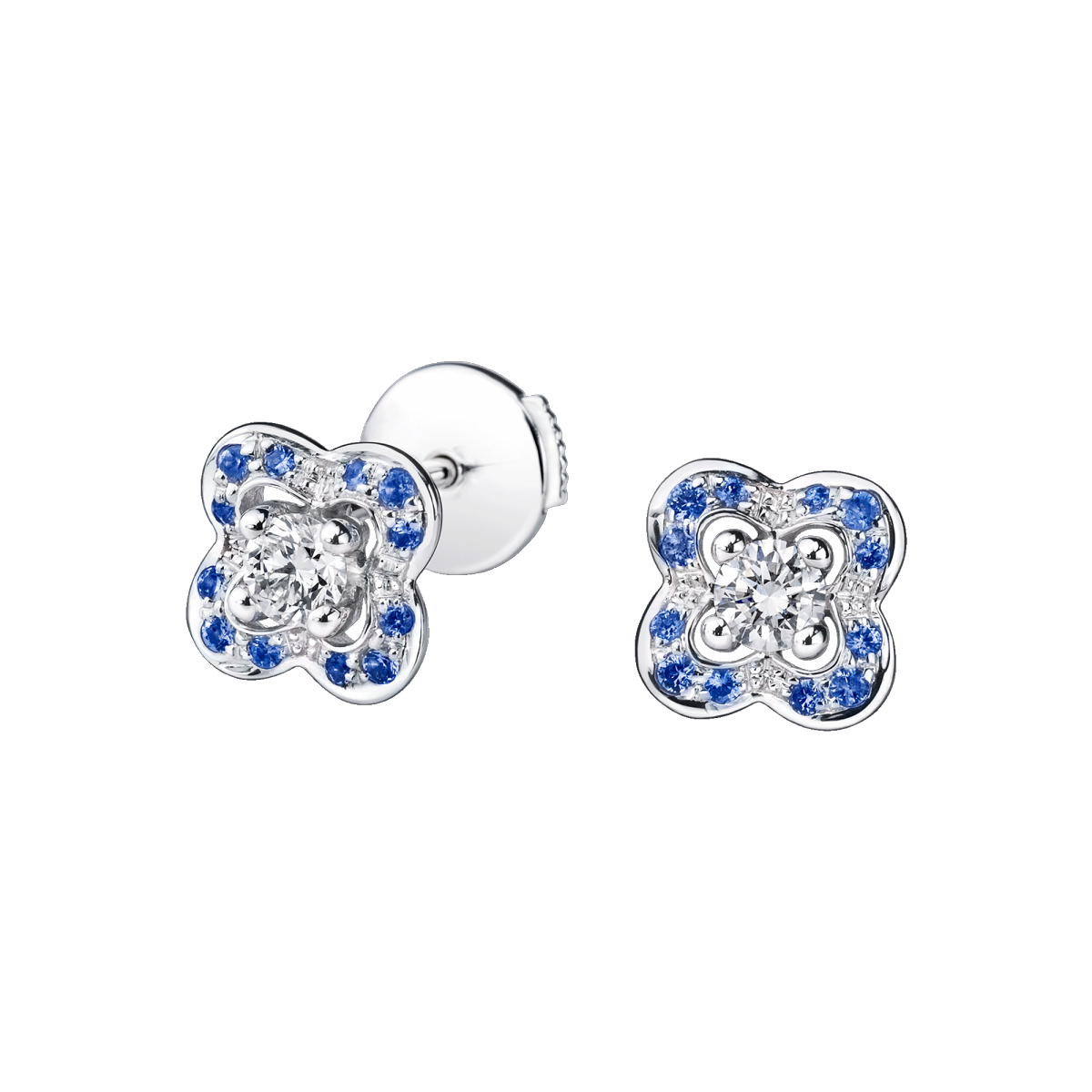 Chance's Cup earrings, white gold, diamonds and sapphires