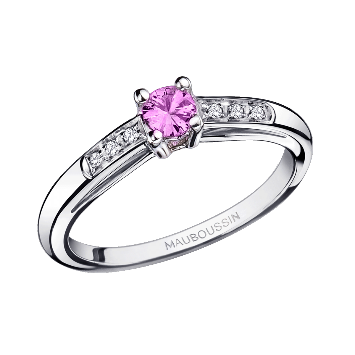 Bonjour les Amoureux ring, white gold, pink sapphire