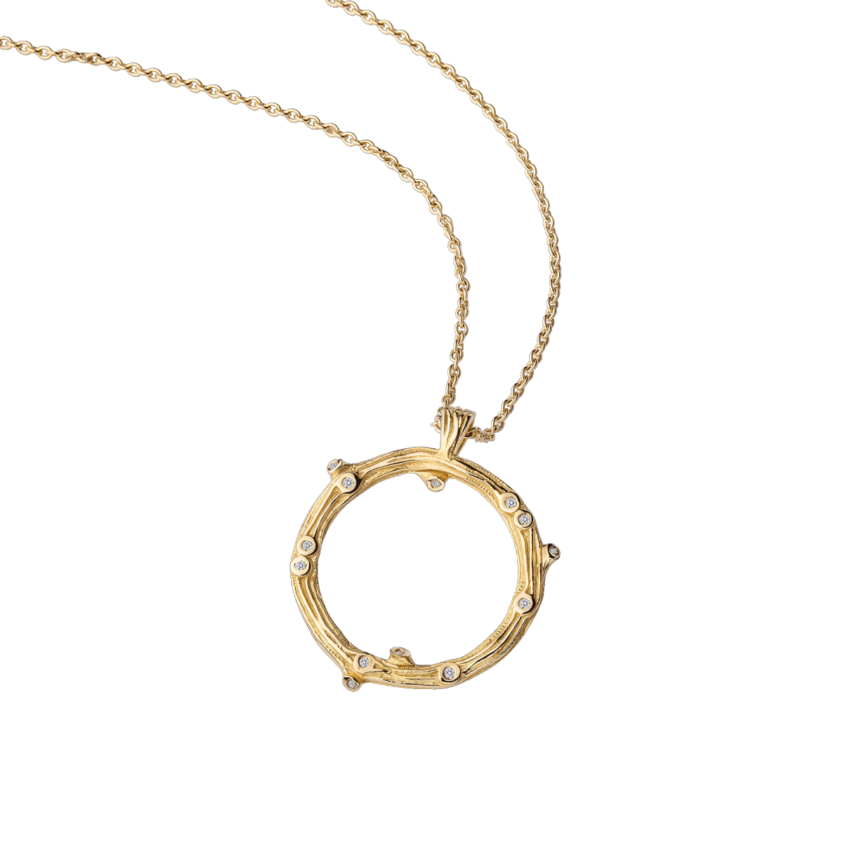 Necklace La Passion est un Volcan, yellow gold et diamonds