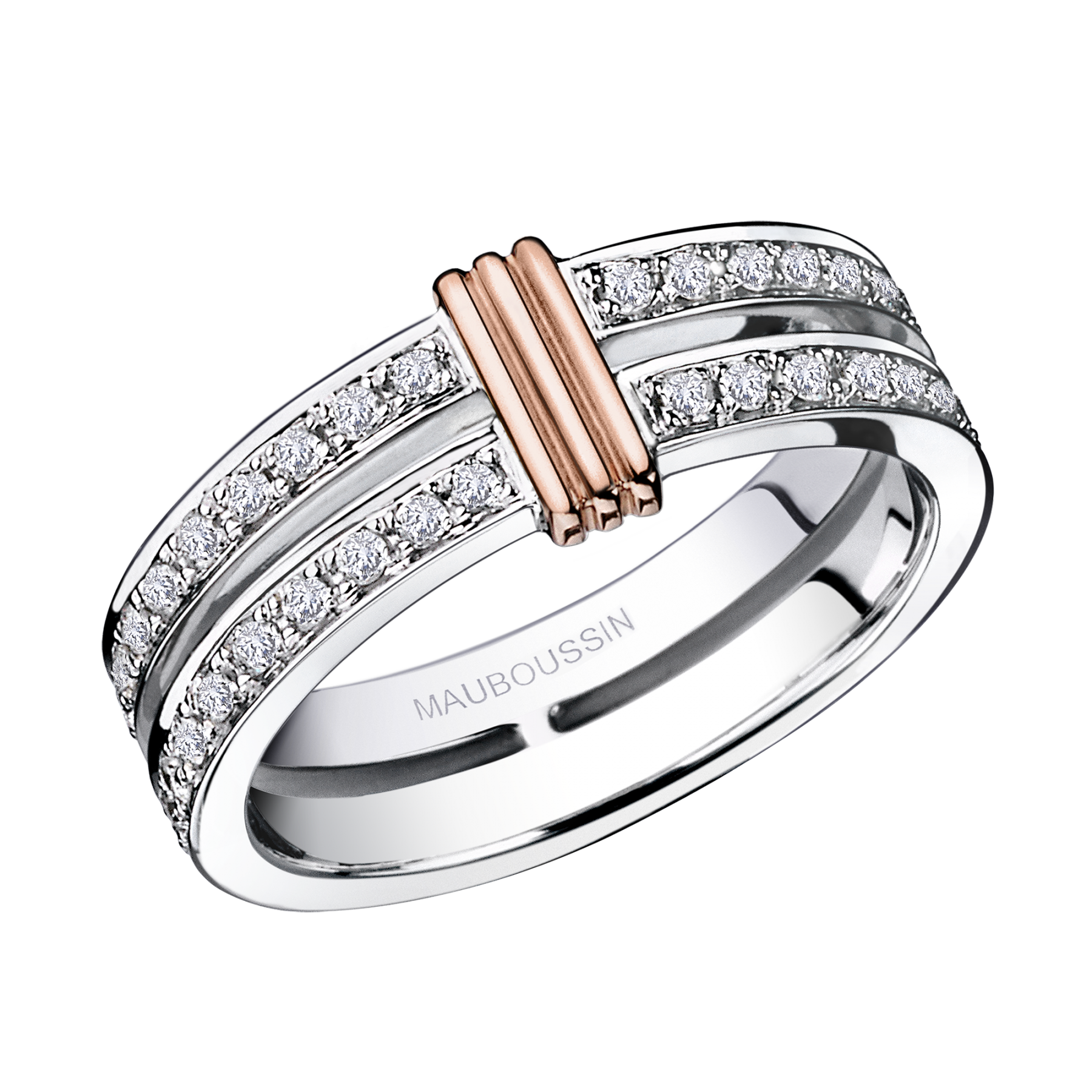 Wedding Band Subtile Eternit� White Gold Link In Pink Diamonds: Link Diamond Wedding Band At Reisefeber.org