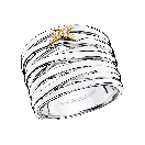Kiff & Kiss Ring , silver, yellow gold and diamonds