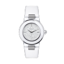 Amour le Jour watch, white ceramic and fully diamond paved