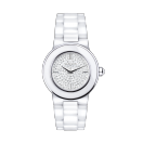 Amour, Le Jour watch, white ceramic and fully diamond paved