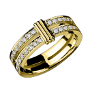 Subtile Eternité wedding band , yellow gold and diamond paving