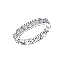 Mi-chaine Mi-diamant ring, white gold and diamonds