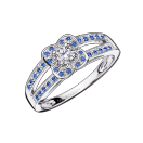 Chance's Cup ring, white gold, diamonds and sapphires