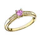 Bonjour les Amoureux ring, yellow gold, pink sapphire
