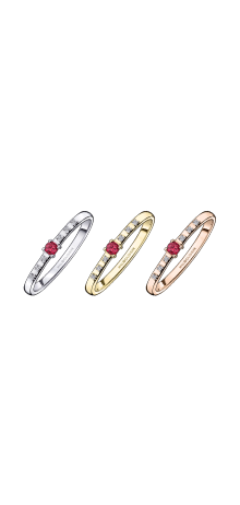 Ring Capsule d'émotion, ruby and diamonds