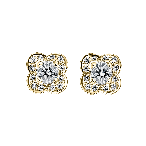 Chance of Love earrings, yellow gold and diamonds