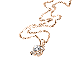 Chance of Love N°2 pendant, pink gold and diamonds