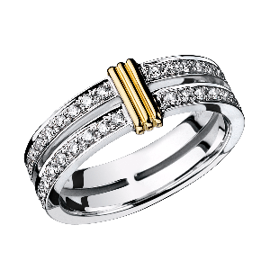 wedding band Subtile Eternité, white gold, link in yellow gold, diamonds