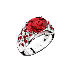 Un enfant de toi Ring, white gold, Ruby and diamonds