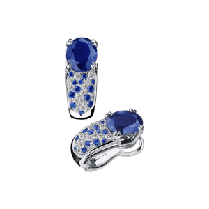 Earrings Nuit d'amour, white gold, paved diamonds and sapphires