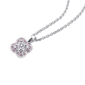 Chance of Love Anniversary Pendant, white gold and pink sapphires pave