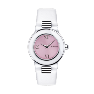 Amour le Jour watch, white ceramic, roman numerals and pink dial