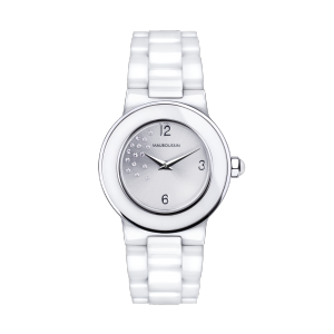 Amour le Jour watch, white ceramic and diamonds