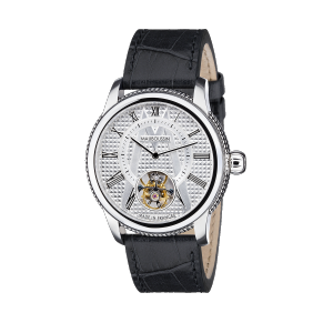 Tourbillon watch, silver dial