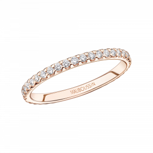 Bellissime wedding band, pink gold and diamonds
