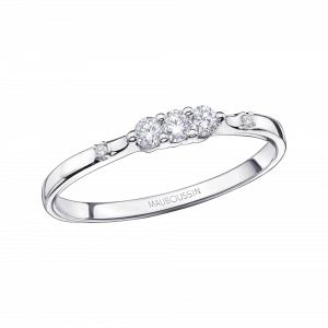 Bague Trois grains d'amour, or blanc, diamants