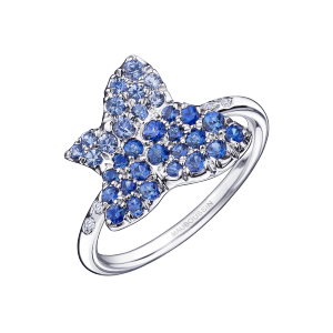 Tu es la Sublime Fleur de ma Vie ring, white gold set with sapphires and diamonds
