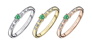 Ring Capsule d'émotion, emerald and diamonds