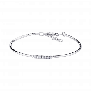 Bracelet Trois grains d'amour, or blanc, diamants
