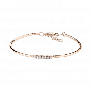 Bracelet Trois grains d'amour, or rose, diamants