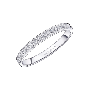 Lovissime Aussi Wedding Band, white gold and half diamonds paved