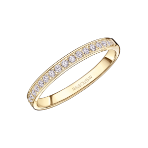 Lovissime Aussi Wedding Band, yellow gold and half diamonds paved