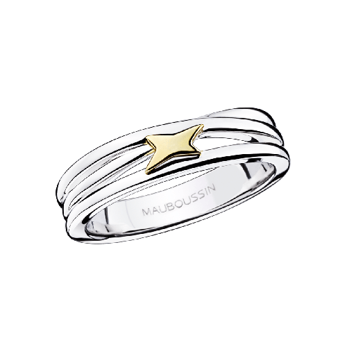 Kiff & Kiss Ring , silver, yellow gold