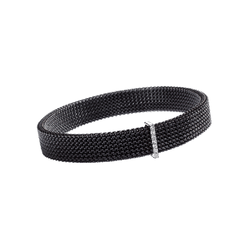 Moi Non Plus bracelet, black steel, white gold and diamonds