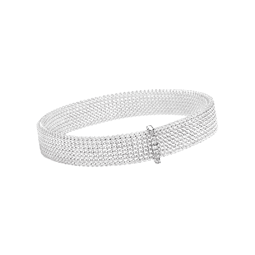 Moi Non Plus bracelet, white steel, white gold and diamonds