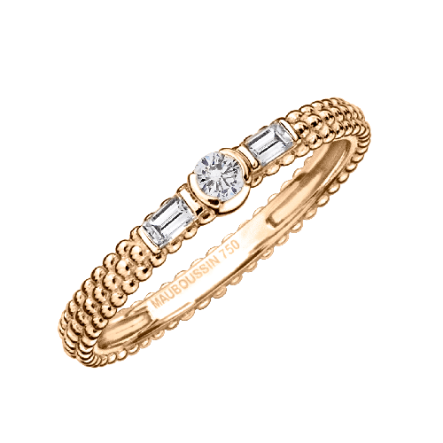 Amour Je t'aime ring, pink gold and diamonds