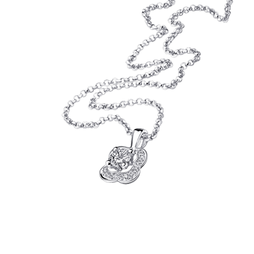 Chance of Love N°2 pendant, white gold and diamond paved
