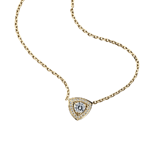 Dream & Love Pendant , yellow gold, central diamond 0,30 carat approximatively, diamonds pavement