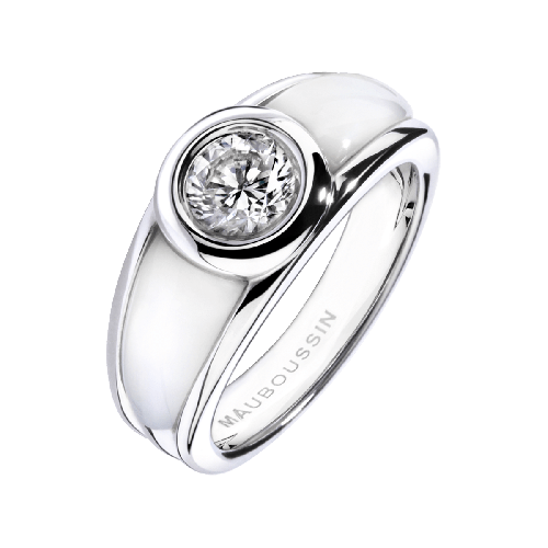 Ring Nadia, white gold, diamond, white mother of pearl