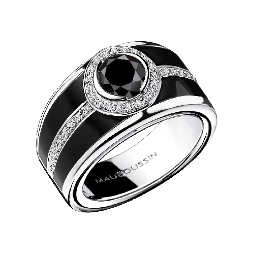 Ring L'Œuvre Noir,white gold, black diamond, black lacquered