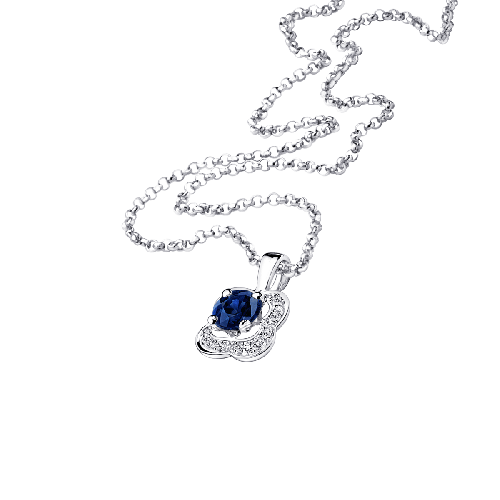 Sex and love pendant, sapphires, white gold
