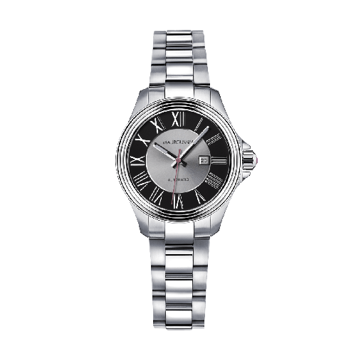L'Heure de Paix watch, large, automatic movement, black dial, steel bracelet