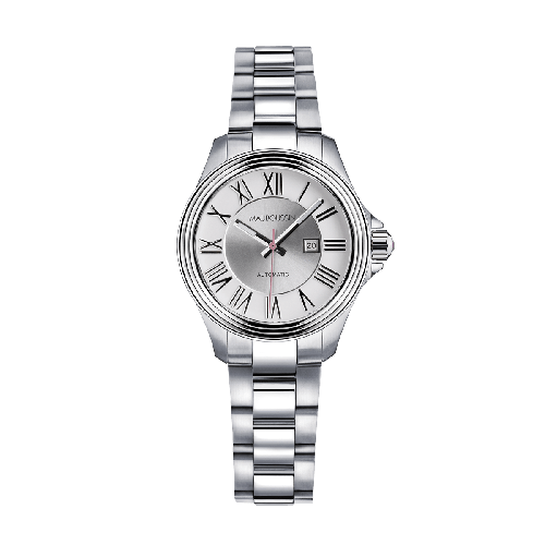 L'Heure de Paix watch, small, automatic movement, silver dial, steel bracelet
